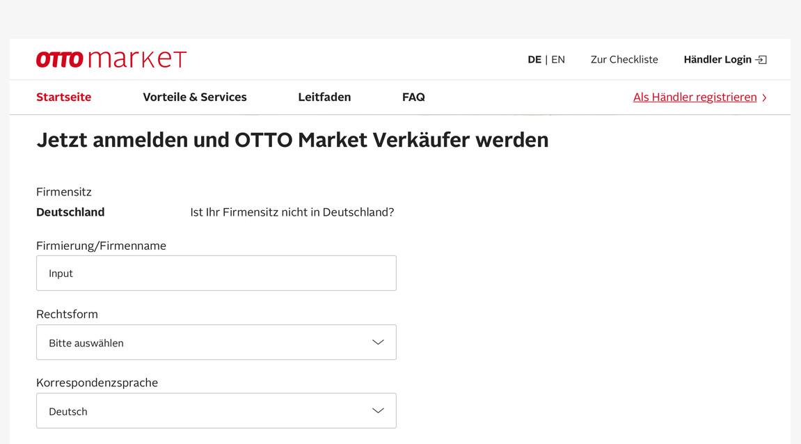 Screenshot of registration form